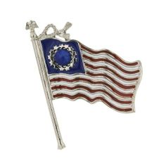 Show your American with this stylish flag pin captured blowing in the wind. Hand-enameled and made in the US.