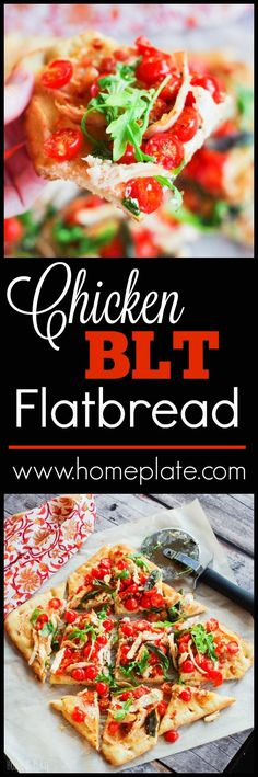 Chicken BLT Flatbread   http://www.homeplate.com   Enjoy summer's citrusy sweet cherry…