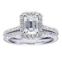 Platinum Diamond Halo Engagement Ring | Gabriel & Co NY | ER5822PT4JJ