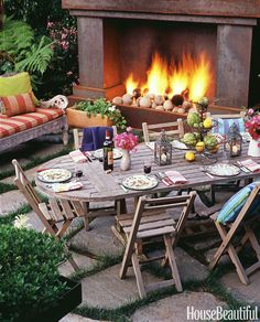 Get ready for some al fresco bliss with these forty backyard ideas, from manicured landscapes to stately patios and paradise-status pools. Outdoor Rooms, Outdoor Dining, Outdoor Decor, Outdoor Ideas, Alfresco Ideas, Outdoor Stone, Outdoor Patios, Outdoor Gardens, Fire Pit Furniture