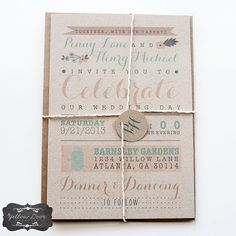 Wedding Invitation / / Rustic  Modern Kraft Paper Invitation / / Pink, Peach and Teal Calligraphy op Etsy, 1,99 €
