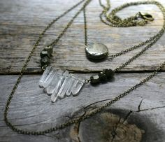 Quartz and Pyrite Crystal Layered Chains by MoonshineDivineCo