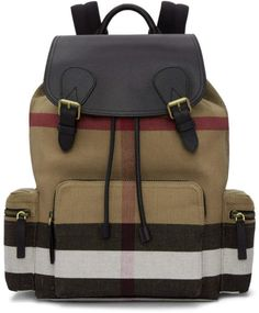Burberry Tan Large Rucksack  burberry  rucksack  london Jute and cotton  twill backpack featuring signature heritage check pattern in tones of tan  white ... 4da8c9f189f6b