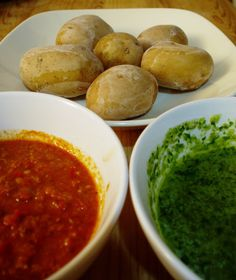 A local dish in the #CanaryIslands - Papas arrugadas, which means 'wrinkled potatoes' in Spanish, and mojo - a red or green sauce, one garlic and one spicy. #food #Spain