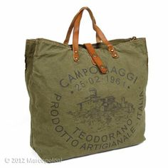 Loving the vintage on this tote!! *WANT* Canvas Logo Tote, CAMPANI by Campomaggi | Marcopoloni