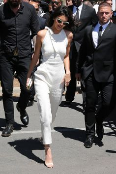 Kendall Jenner wears a white jumpsuit while out in Cannes