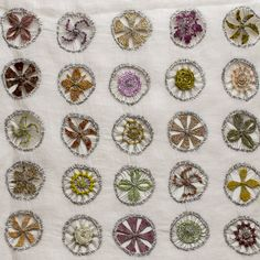 Sophie Digard - Aristocreate linen wrap / scarf w linen thread embroidery and crochet - Crocus/EAM