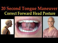 Here is a simple technique that will help your forward head posture. Pushing your tongue up against your hard palate periodically throughout the day will hel. Shoulder Stretching Exercises, Neck And Shoulder Exercises, Jaw Exercises, Neck And Shoulder Pain, Neck And Back Pain, Facial Exercises, Neck Pain, Stretches, Forward Head Posture Correction