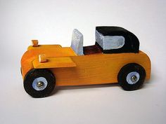 FREE SHIPPING wood toy car  The Yellow one by objecta on Etsy, €23.00