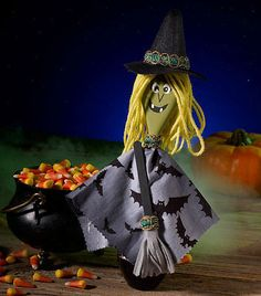 25 Halloween Witch Crafts For Toddlers. Get all the family involved with the decorating this halloween with these cutre crafts for toddlers Halloween Arts And Crafts, Halloween Crafts For Toddlers, Fete Halloween, Toddler Halloween, Diy Halloween Decorations, Spooky Halloween, Toddler Crafts, Kids Crafts, Puppet Crafts