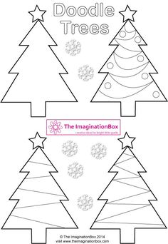 Decorative Christmas 'Doodle Trees', FREE printable to make tags, cards, garlands