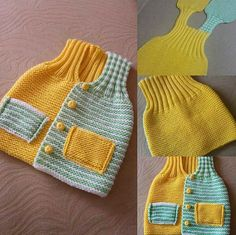 Different and different one-piece baby vest construction - Super knitting Baby Knitting Patterns, Baby Cardigan Knitting Pattern, Knit Headband Pattern, Vest Pattern, Knitted Headband, Knitting For Kids, Baby Patterns, Baby Pullover, Crochet Coat