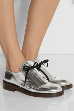 I could fly in these beautiful shoes...Marni-  Fringed mirrored-leather brogues