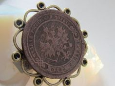 Steampunk filigree  Ring with genuine Antique  by Timewatch, $29.00