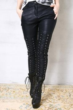 These are freakin' cool pants! [Chic Rock Runway Armor Corset Laceup Vegan Faux by runnickyrun]