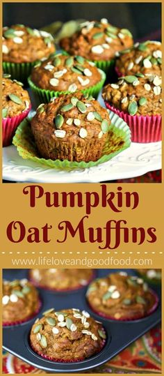 Make these Pumpkin Oat Muffins with whole wheat flour for a healthier, whole grain muffin sweetened with dark brown sugar and maple syrup. #breakfast #recipe