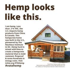 Tennessee: Industrial Hemp Cultivation Is Now Legal! I want to build a hemp house. Natural Building, Green Building, Save Our Earth, Cbd Hemp Oil, Our Environment, Sustainable Living, Sustainable Design, Medical Marijuana, Marijuana Facts