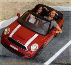 Ken takes Barbie for a ride in his new Mini Cooper. In this photo: Model No. 04 Collection 002.5, Harley Davidson Ken Doll #2