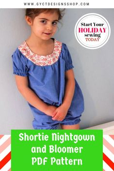 122fda458e Get the look of vintage pajamas with this fun shortie nightgown sewing  pattern. Use them