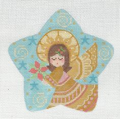 Lovely Angel Star Hand Painted Needlepoint Canvas