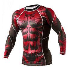 Mens Peresvit Silver Force Beast MMA Rash Guard Long Sleeve Red