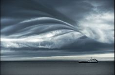Rolling clouds above sea