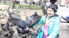 Кормим голубей в парке возле цирка! Feed the pigeons in the Park near th...