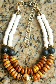 Custom Design Copal Amber, Carved Black Wood, Bone and Golden Terra Cotta Necklace Contact me if interested in this necklace:kelly@xogallery.com