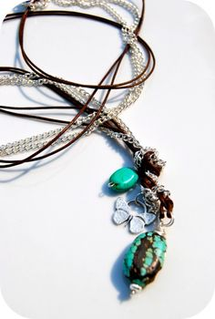 long chain/cotton cord turquoise necklace