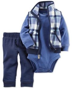 A cozy mix of casual pieces-including a plaid vest, long-sleeve bodysuit and pull-on pants-make this three-piece Carter's set a comfy choice for your wiggly little guy. Baby Boy Outfits, Kids Outfits, Baby Boy Cardigan, Baby Boy Haircuts, Plaid Vest, Carters Baby Boys, Baby Boy Fashion, Kids Fashion, Baby Kids Clothes