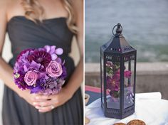 between the lanterns and purple flowers, this is exactly what our wedding was like :) the lanterns made everything look so warming.