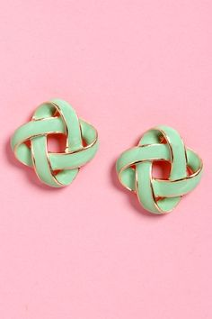 Cute Mint Earrings - Gold Earrings - $11.00