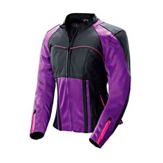 Joe Rocket Women's Radar Leather Purple/Black Jacket - LeatherUp.com $270 It's like if lulu made moto jackets