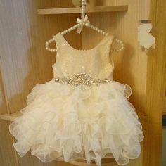 "The ""Peyton"" Ivory Sequin Flower Girl Party Dress – Angora Boutique"