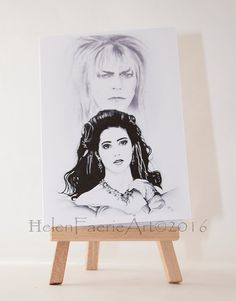 Blank Greeting Card (4 x 6ins) 'Sarah and Jareth, The Goblin King' Faery, The Labyrinth, with white envelope and self seal acetate sleeve by HelenFaerieArt on Etsy