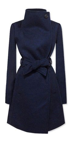Would love a coat like this (in Navy or red) Love the high neck, belted waist, and how simple it is