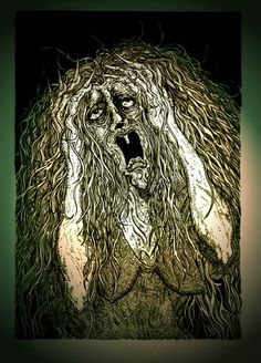Banshee: a Celtic phantom that shrieks a loud dreadful scream during the night often out in the woods. It is said to hear a banshee is to predict a death. The banshee herself is a tormented spirit of a murdered young woman who is often cursed to plague a family who is tied to this murder. Banshee art by Andrew L. Paciorek (Strange Lands)