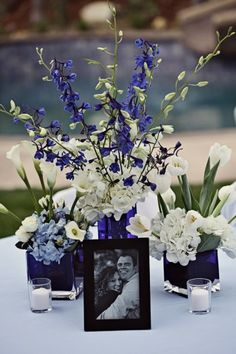 blue and white reception wedding flowers,  wedding decor, wedding flower centerpiece, wedding flower arrangement, add pic source on comment and we will update it. www.myfloweraffair.com can create this beautiful wedding flower look.
