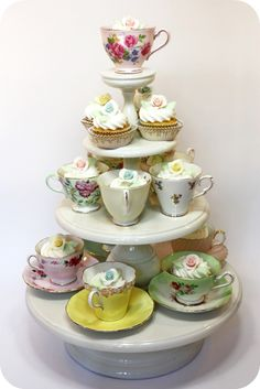 teacups and cupcakes. My mother has a gorgeous selection of tea cups! Need to do this!