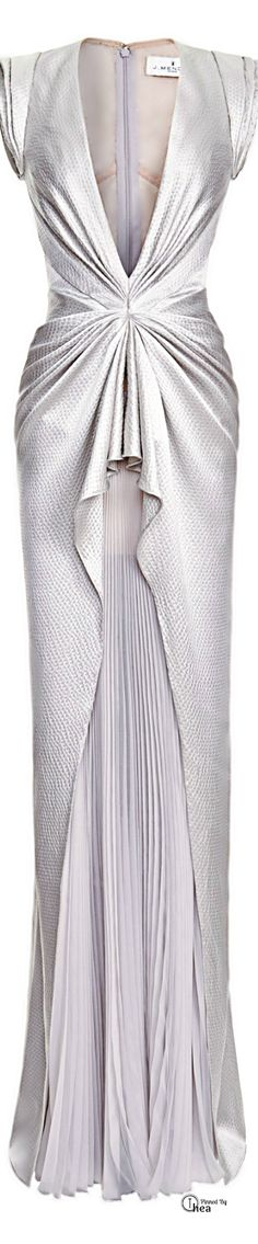 J. Mendel Sleeveless V-Neck Gown with Pleated Skirt in Gray. I love the detailing on this.