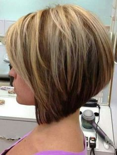 Long bob in front, stacked in the back /via