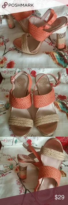 """VINCE CAMUTO Adrien Style Woven Ocean Coral 6 Brand New VINCE CAMUTO Adrien Style Size 6. Precious Ocean Coral tones Woven HEELS.  Adorable. Gorgeous colors.  Must have !  """" FREE GIFT INCLUDED """" Vince Camuto Shoes Heels"""
