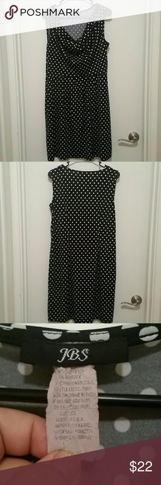 Black and white poka dot dress Black and white slevless tank too style poka dot dress from JBS. Size L. Pre-load but in great  condition. Only thing worn is the size tag. It features a cowl neckline and some pleating around the waist that will give a slimming look. JBS Dresses Midi
