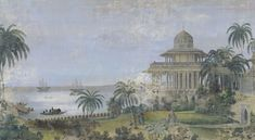 Landscapes gray - India aged and weathered Mural Painting, Figure Painting, My French Country Home, Colorful Wallpaper, Botanical Art, Pattern Wallpaper, Oeuvre D'art, Frames On Wall, Art Gallery