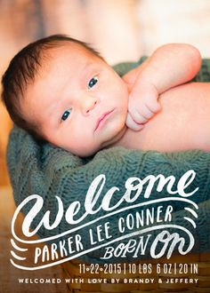 Welcome the new baby with a modern baby birth announcement from Minted.com