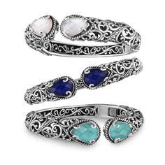 Carolyn Pollack// #Signature #Sterling #Silver Hinged Cuff Bracelet #gemstones