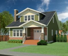 The Craftsman Brawner-2051is a storey and a half house featuring: Authenticcraftsmanstyled exterior Covered front porch Two storey dining room Large kitchen with island and walk-in pantry Spacious living room Main floor master suite and laundry room 3 bedrooms, 3 baths