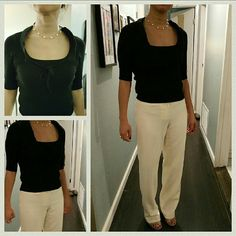 XS Black Anthropologie (Moth) Top Waist-length short sleeved sweater top Pants are also for sale! Discounts available if you bundle them. Cheers Anthropologie Sweaters Crew & Scoop Necks