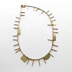 ACB Hammered Shapes Necklace with Sticks - Short