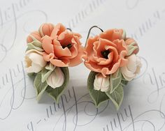 Floral earrings pink peach cream peoney Flower shabby chic vintage designer polymer clay jewelry for special occasions by JewelleryForWorld on Etsy